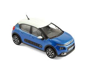 voiture bleue avec toit blanc