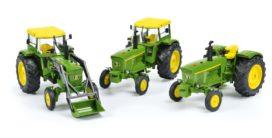 set de 3 tracteurs vert, avec et sans cabine