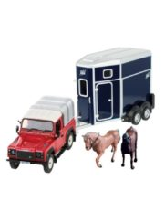 vieille jeep avec van et chevaux