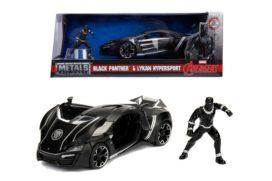 voiture de sport noire avec figurine