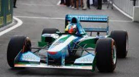 voiture de course formule 1 vert et bleu