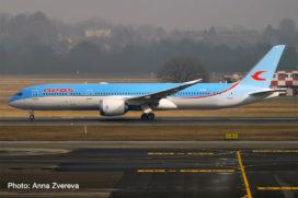 avion de ligne bleu et blanc