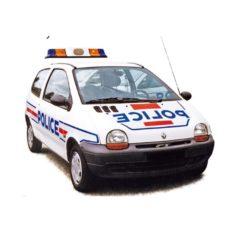 vieille petite voiture blanche de police