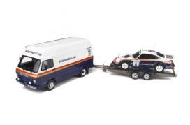 ensemble plateau camionnette et voiture de rallye
