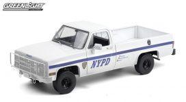 vieux pick up de police blanc et bleu